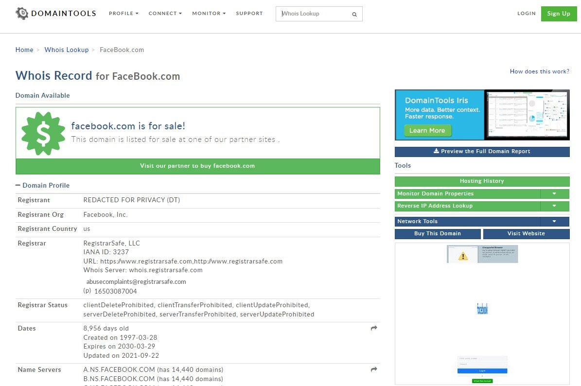 Facebook.com è in vendita